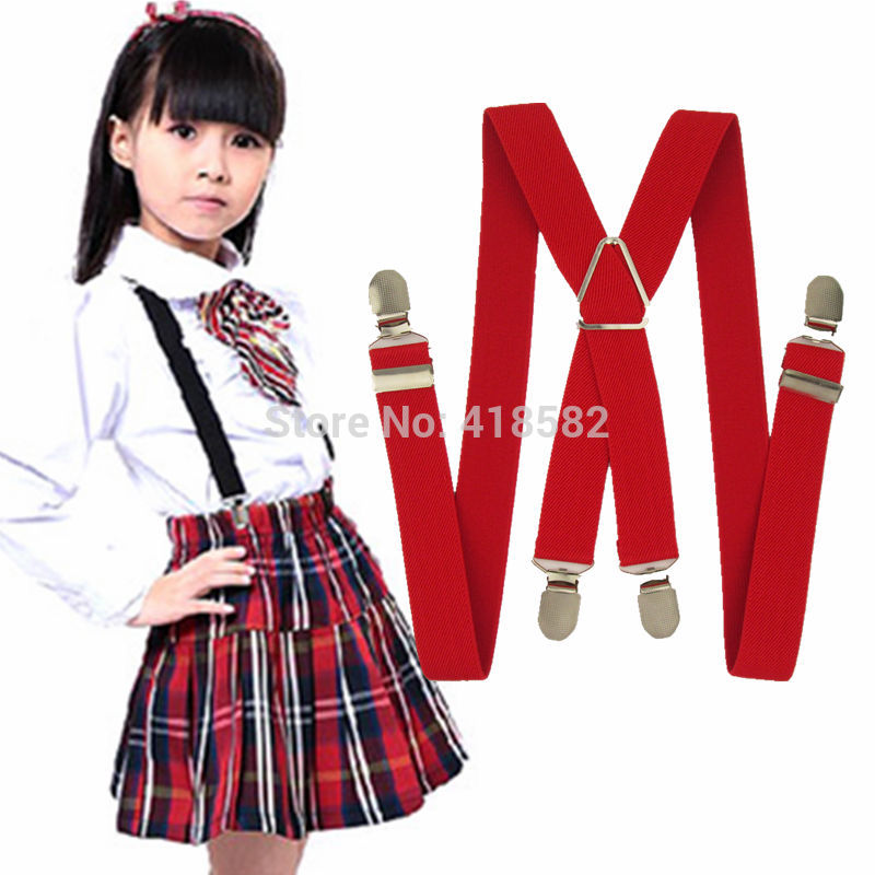 BD002-M size New Kids Suspenders 4 clips-on braces 6-16 years boys girls - Factory Online Store(Min order $5 store)