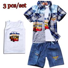 New 2016 Summer Spiderman 3PCS Plaid Shirt Tank Top Vest Jeans Pants Boys Sets Kids Boy Clothing Clothes Casual Suit 6648(China (Mainland))