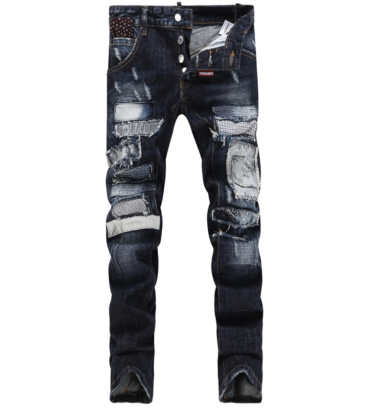 Famous High Quality Brand Slim Fit Biker Motorcycle Destroyed Men Jeans Dsq Urban Fashion D