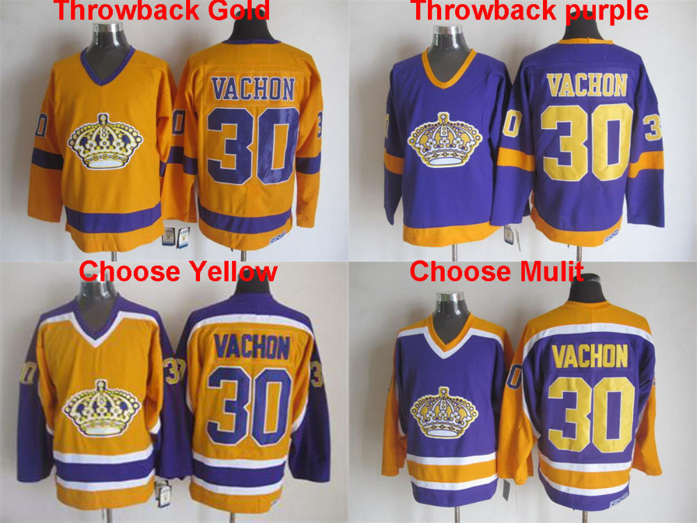 Throwback Los Angeles Kings #30 Rogatien Vachon Jersey CCM hockey jersey Purple Gold Yellow,stitched,Top quailty(China (Mainland))