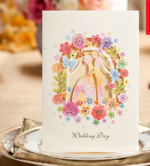 Inviting Card 45set Elegant Laser Cut White Paper Event Party Supplies Decoration Lover Flower Floral Wedding Invitation(China (Mainland))