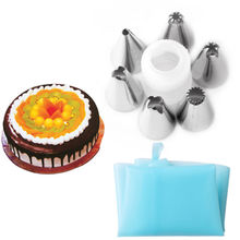 Buy 1 set Silicone Icing Piping Cream Pastry Bag 6pcs Stainless Steel Nozzle Sets Cake DIY Decorating Baking Tool Bakeware for $1.22 in AliExpress store