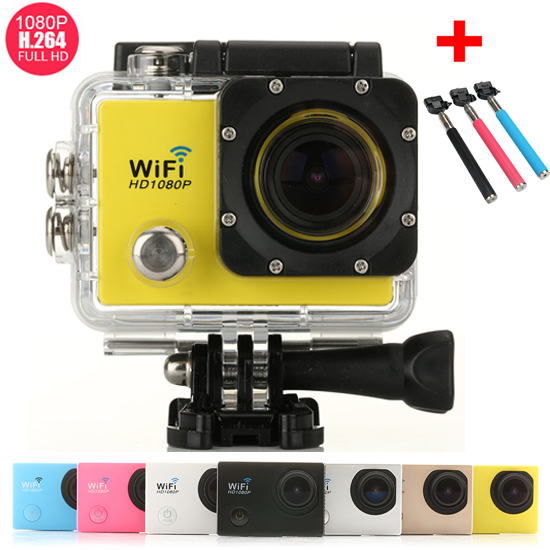 "Mini Action Camera WIFI 1080P Full HD 2.0"" LCD 14MP Sports DV Camera SJ9000 Diving 30M Waterproof Helmet Cam + 1pcs Selfie Stick(China (Mainland))"