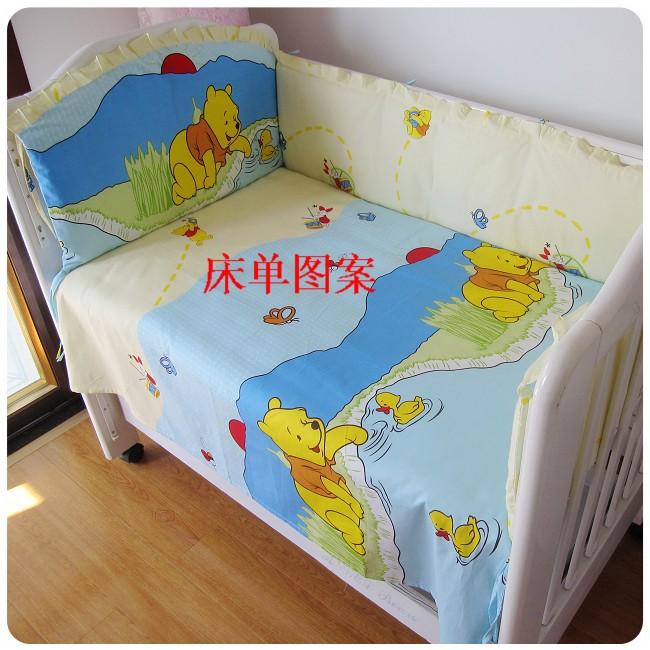 Promotion! 6PCS Winnie Crib Bumper Baby Bedding Set for Boys Baby Bedding Kit Boy Crib 100% Cotton ,(bumpers+sheet+pillow cover)<br><br>Aliexpress