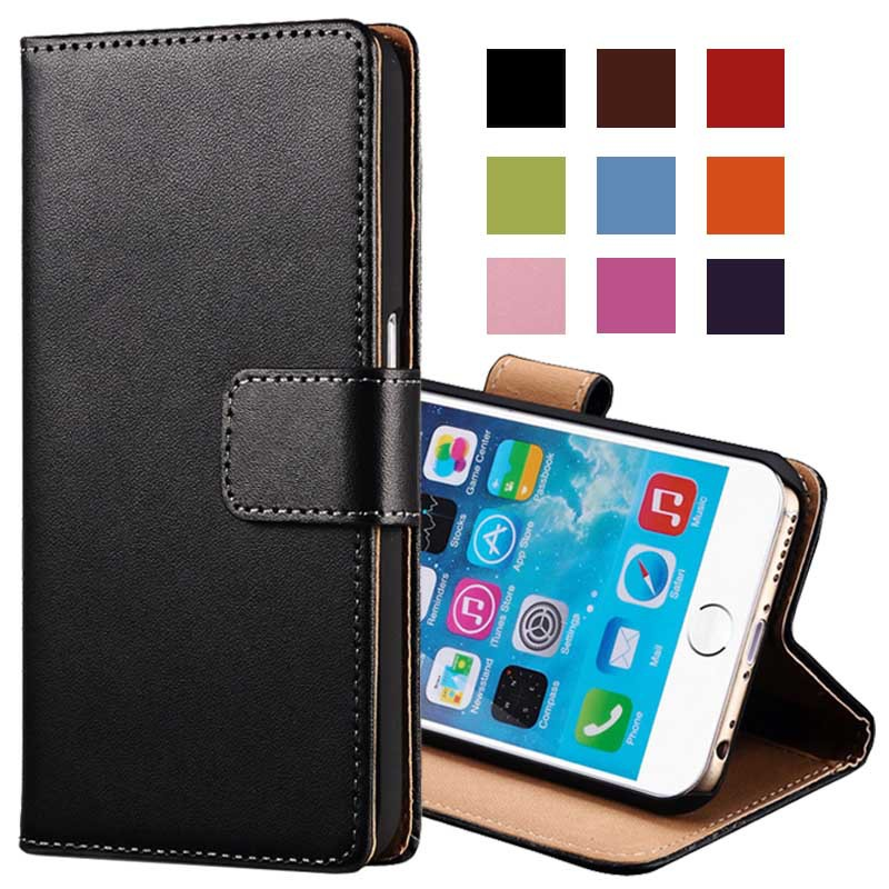"Genuine Leather Wallet With Stand Case For iPhone 6 6G 4.7 Inch Phone Bag Cover For iPhone 6 Plus 5.5"" 2 Styles Card Holder(China (Mainland))"