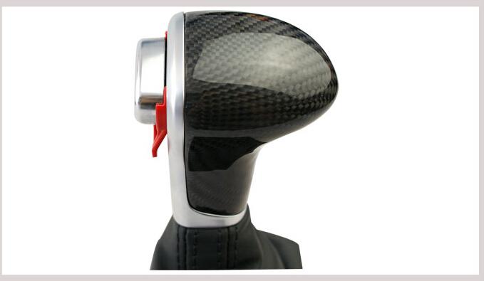 Black carbon fiber leather chrome gear shift knob collars for audi a6 a3 a4 a5 a6 q7 q5 2009