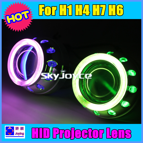 2X 2.8'' HID Bi Xenon Projector Lens H4 H1 H7 4300K-8000K CCFL Double Angel Eyes 35W HID headlights HALO with slim ballast X2(China (Mainland))