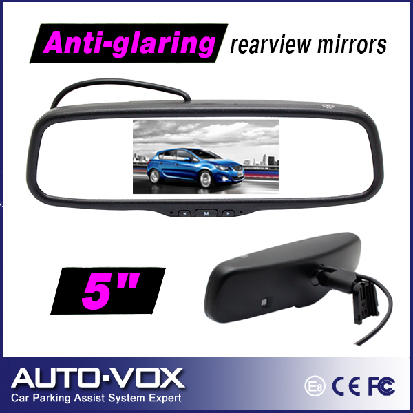 "Car 5"" TFT-LCD Rear View Mirror Monitor 2 Video Input Middle Display with OEM Bracket(China (Mainland))"