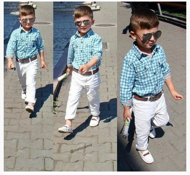 220773 baby boys clothing sets long-sleeve plaid shirt +white trousers+belt 3 pcs children clothing suits gentleman style(China (Mainland))