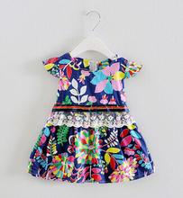 Retail 2016 Baby girl fashion dress print pearl kids summer dresses girls Brand dress princess baby dress free shipping(China (Mainland))