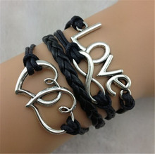 Ebay fashion vintage love heart to heart 8 handmade knitted bracelet female(China (Mainland))
