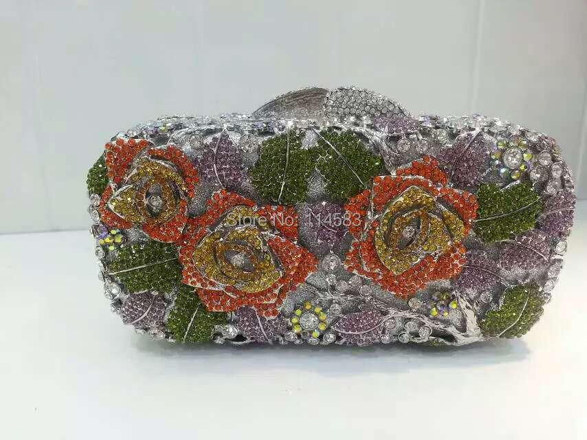 #8207G Crystal Rose Flower Floral Bridal Party hollow Metal Evening purse clutch bag handbag case