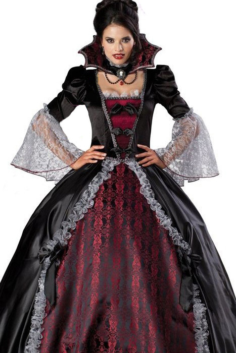 Adult Women Splendid Vampire Dress Halloween Costume Gothic Witch Floor Length Ball Gown Women Costumes +Petticoat Skirt E8840