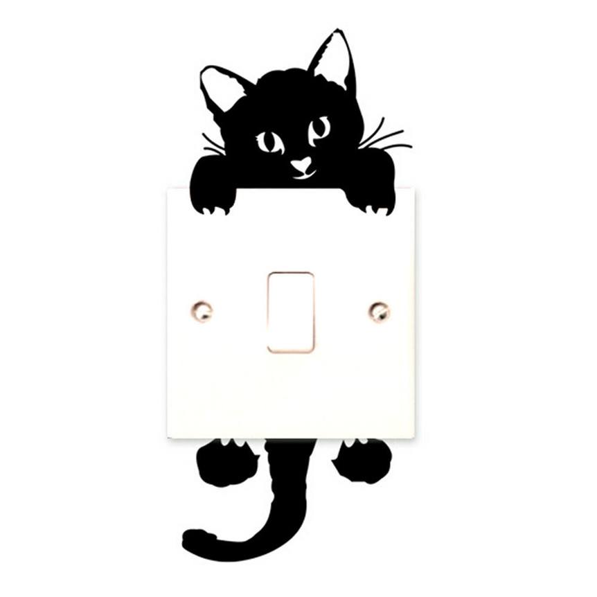 Lovely Pets New qualified 2017 New hot Viny cat Stickers wall switch Art baby nursery room decoration Levert Dropship jan17(China (Mainland))