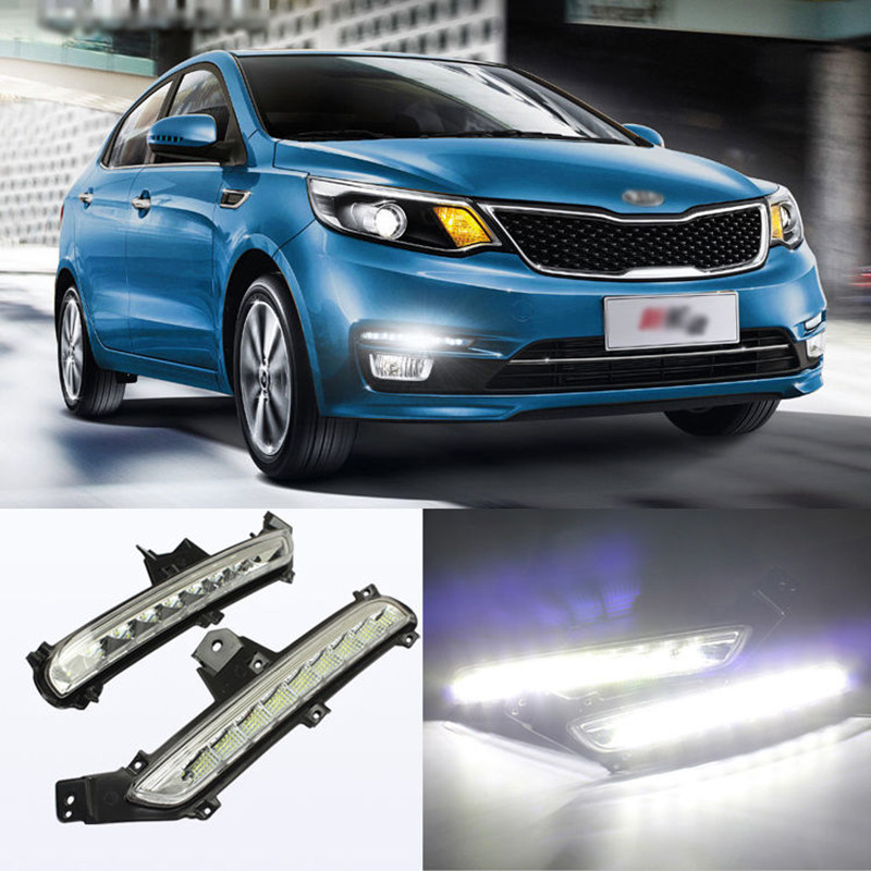 Car LED Light Guide Daytime Running Lights DRL Front Fog Lamp Turn Signal Light With Yellow Steering Mode for KIA K2 Rio 2015~ON<br><br>Aliexpress