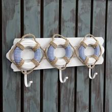 Lifebuoy decorative hook Entrance retro key hooks Mediterranean-style coat hook 42X17.5CM(China (Mainland))
