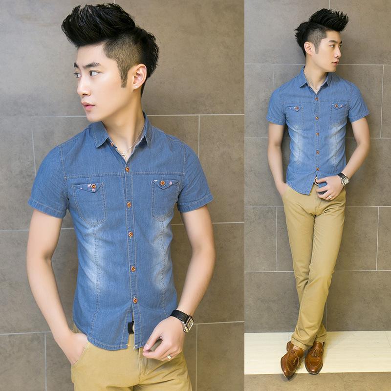 2015 Camisa Shirts Chemise Homme Explosions Lace Buckle Washed Denim Short Sleeve Double Pocket Dress Shirt Wholesale Discounts(China (Mainland))