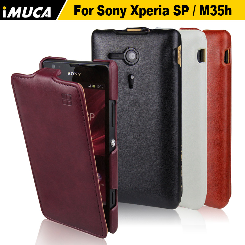 iMUCA Leather Flip Case For Sony Xperia SP M35h case 4 Colors Phone Cases Cover for Sony Xperia SP M35h with retail package(China (Mainland))