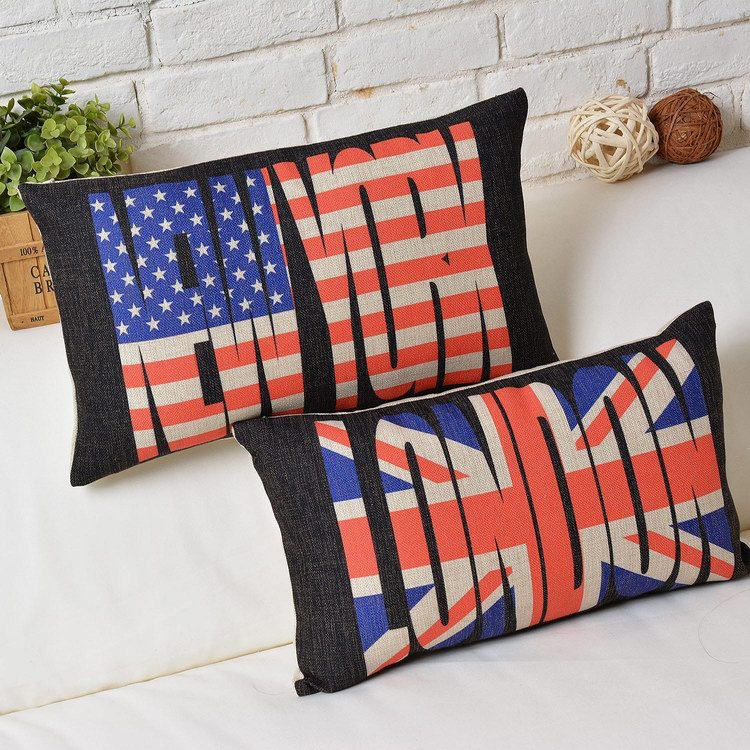 Creative Letters Burlap Cushion Cover Modern Design Cushion Cover