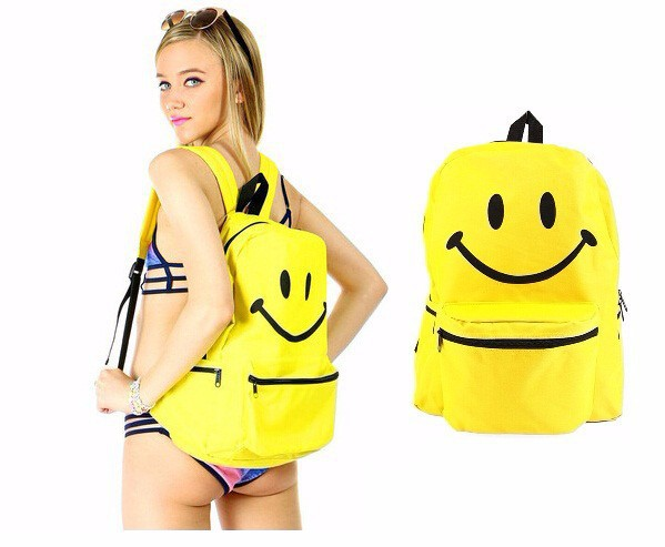 2015 Smile Face Bag Teenagers Canvas Bags Fashion 3D Emoji Backpack Women & Female - Baby Store store