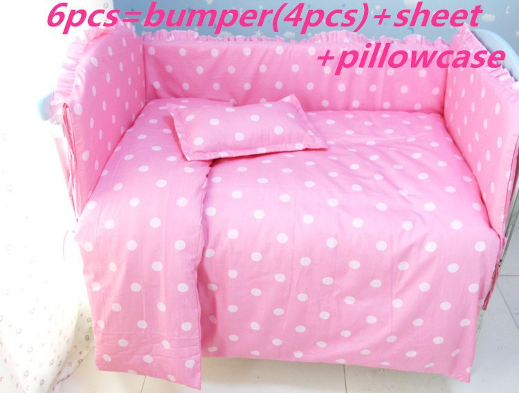 Promotion! 8pcs Pink Point 100% cotton baby bedding sets cover,crib bedding sets for crib set (bumpers+sheet+pillow cover)<br><br>Aliexpress