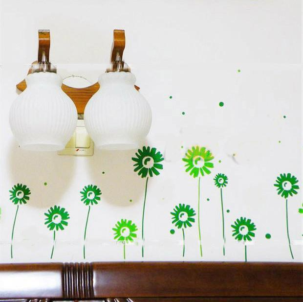 Free Shipping: 14 pice of little Daisy and 5 pice of butterfly Art Home Wall Sticker/Room Wall Decor