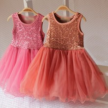 2016 New Sequined Kids Dress For Girls Pleat Toddler Girl Clothing Summer Princess Party Dresses Baby Dancing Costume(China (Mainland))