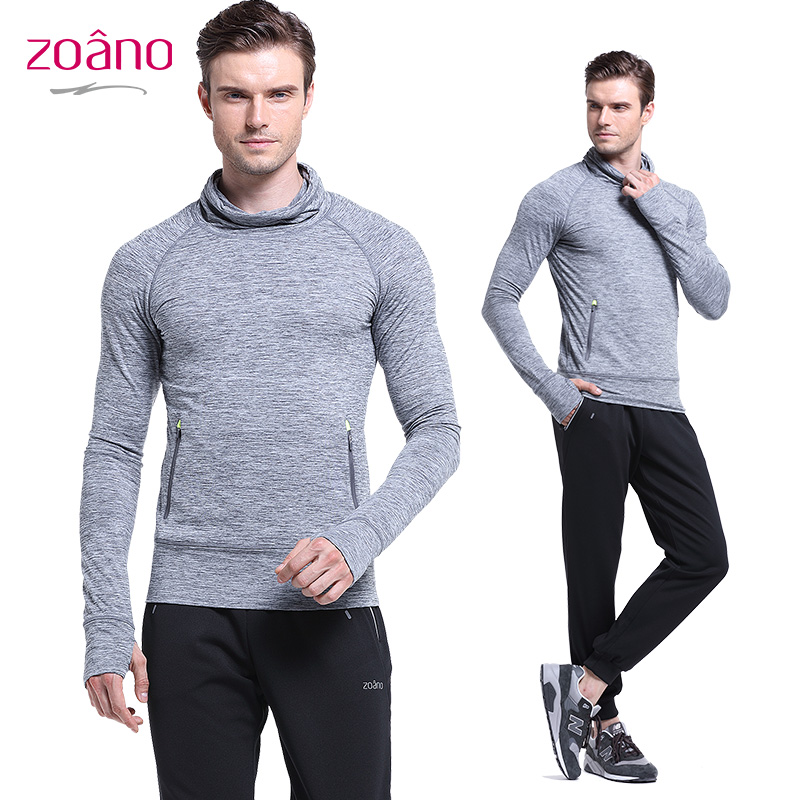 Zoano 2016 New Spring Men Outdoor Running T-shirts Solid Color Long Sleeve Sports T-shirts Men Casual Tops MUT52372