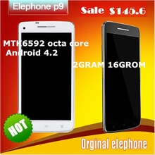 Original smartphone  Elephone P9 + MTK6592 Octa core Android 4.4 5.0″ 3GRAM 16GROM GPS 3G mobile phone