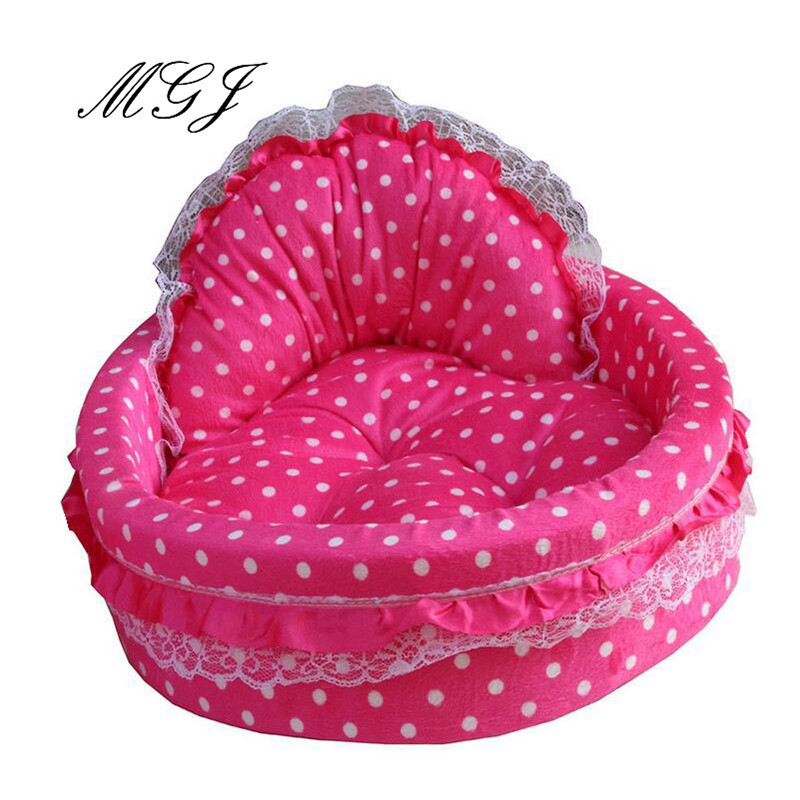 Hot Sales! Dog Rose red Color Pet Cat Puppy Bed Princess Dot Pattern Short Plush Woolen Kennel Size Free Shipping Factory Sale(China (Mainland))
