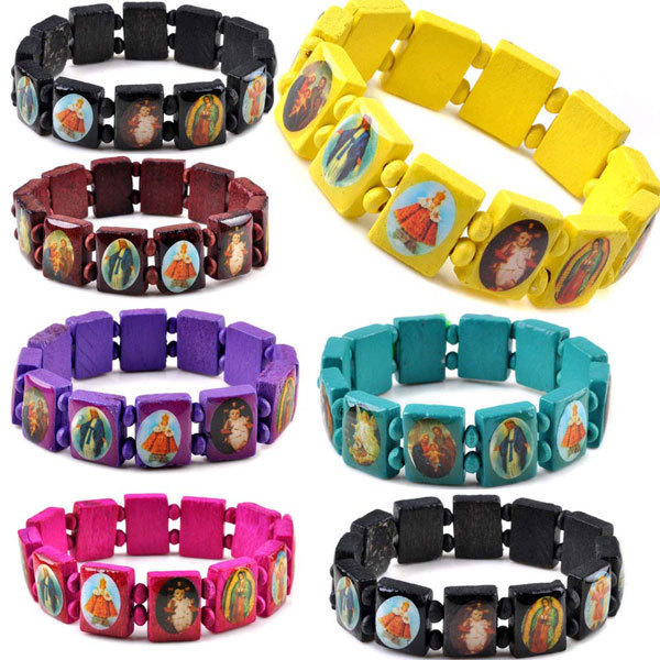 Wholesale 50Pcs/lot Multicolor Jesus Wood Bracelets Women Men Colorful Wooden Saints Rosary Religious For Best Friends Gift(China (Mainland))