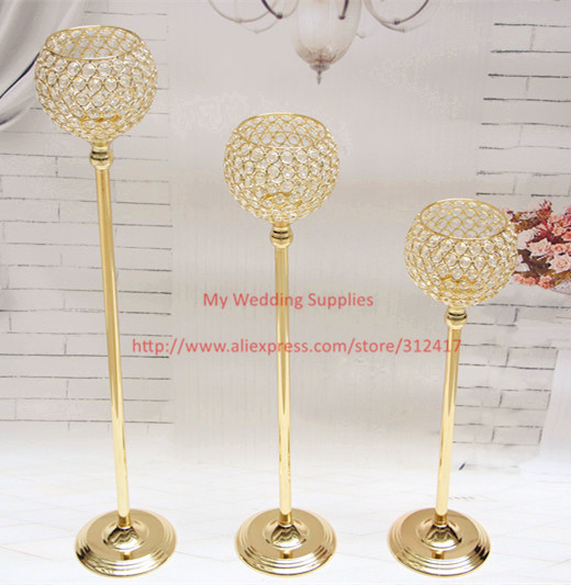 Hotsale 3pcs silver and gold crystal glass wedding candle holder set , peacock candle holder , flower candle holder(China (Mainland))