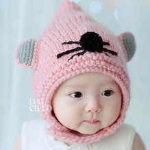 2014 New Cute mouse Wizard Children Fur Hats boy girl Winter wool Hat baby Kids Earflap Cap FOR 1-4 Years Old