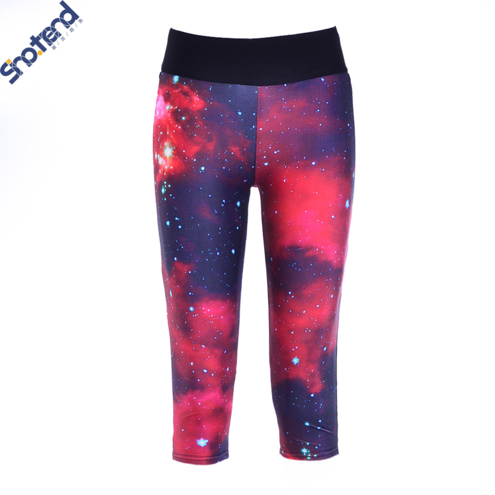 S.T Red Galaxy Leggings Night Sky Printed Leggings Slim Skinny High Stretched Punk Sport Legging Pants Woman Workout Leggings(China (Mainland))