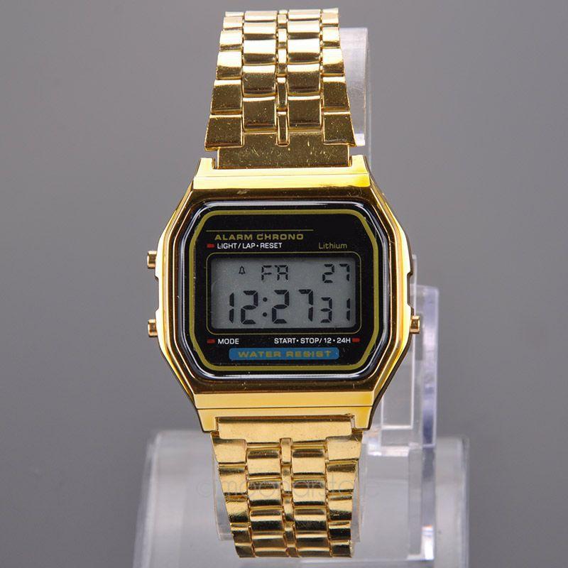 Luxury Gold Watch Metal Fashion Vintage Digital Watch Display Date Alrm Stopwatch Retro Watch Unisex Watches