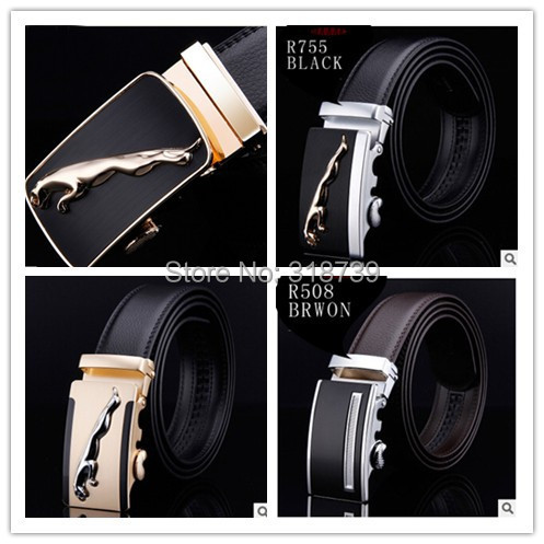 HOT Fashion MEN's Genuine Leather Waist Strap Belts Automatic Metal Buckle Gold Silver Split Cow LuxuryCX015 Man's belt - Lady store