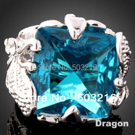Free Shipping High Quality Silver Plated Austrian Crystal Fashion Blue Imitation Diamond Wedding Rings