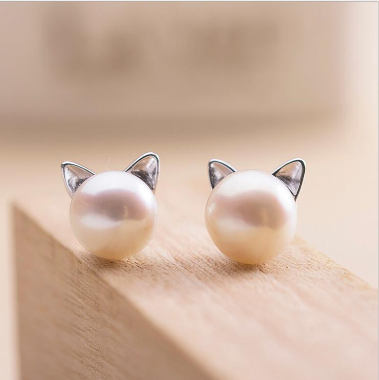 Newest 925 Sterling Silver Imitation Pearl Cat Stud Earrings Jewelry For Women Girl Pendientes Plata Brincos(China (Mainland))