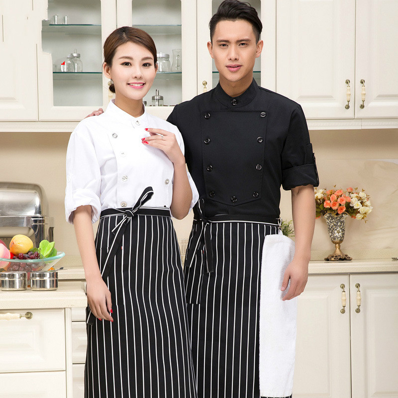 Summer Short-sleeve Cook Clothes Black and White Clothes Men Work Wear Chef Uniform Chef Shirt Chef Jacket(China (Mainland))