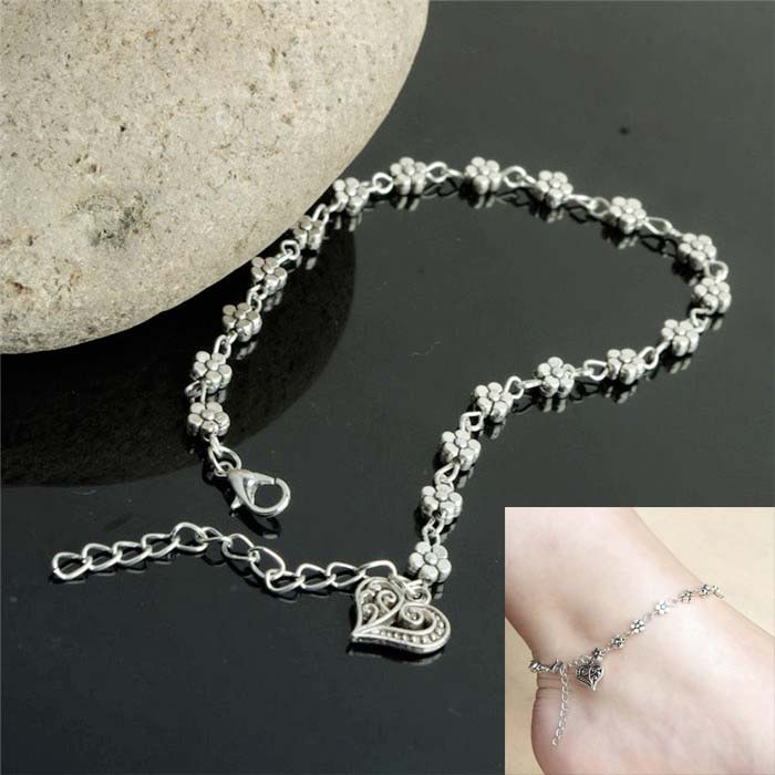 New Women Chain Anklets Silver Plated Lovely Heart Charm Ankle Bracelets 1PC AL043(China (Mainland))