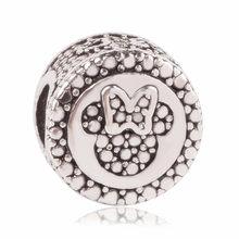 AIFEILI Mickey Minnie rozgwiazda mama wisiorek z niebieskim kryształem srebrne wisiorki z koralikami Fit Pandora bransoletki bransoletki naszyjnik DIY(China)
