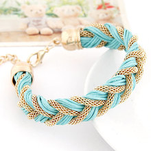 New Fashion Charms Punk Bracelet Vintage Woven Metal Winding Braided Rope Bracelet  Women Fine Jewelry  D166(China (Mainland))