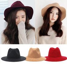 2015 Winter Spring Fashion New 4 Colors Vintage Hats For Women Ladies Floppy Wide Brim Flannel Felt Fedora Cloche Hat Cap(China (Mainland))