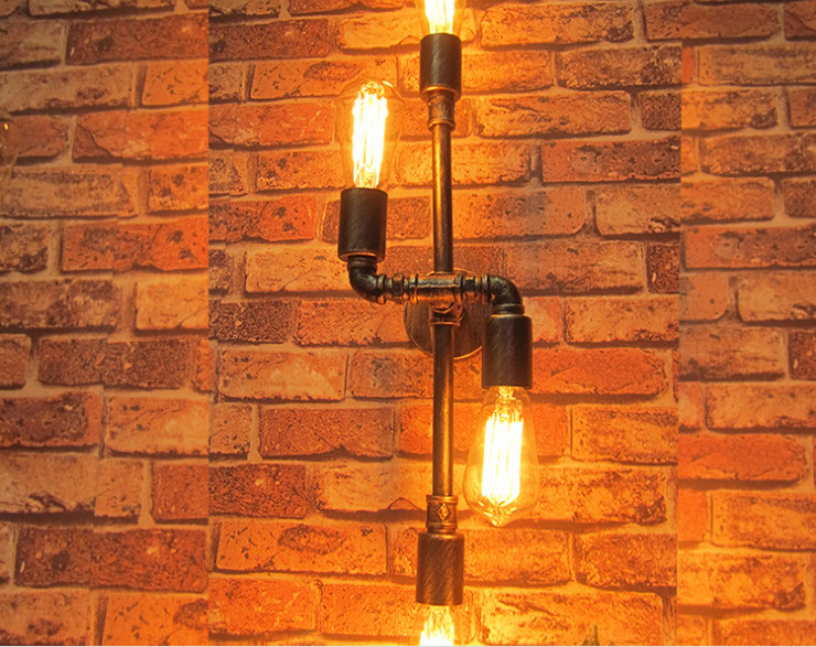 Фотография Northern Creative Contracted Iron Vintage S Shape Water Pipe Wall Lamp Restaurant Decoration Light Cafe Shop Light Free Shipping