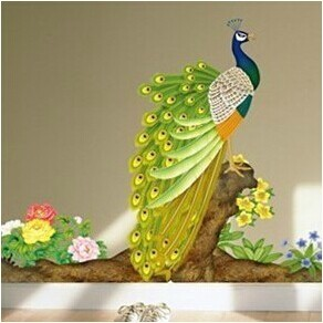 free shipping AY209B removable wallpaper,peacock decorations for home,be sweet wall stickers,3d pvc boat decal,double face gif(China (Mainland))