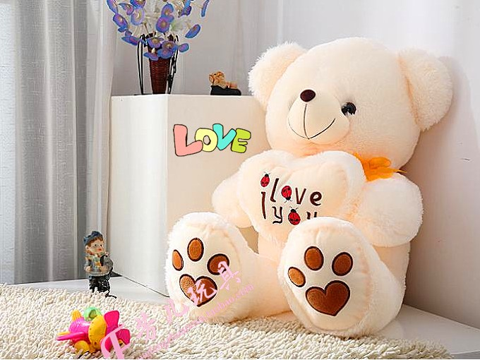 norme en peluche assis ours beetle amour coeur jaune en peluche animaux en peluche ours. Black Bedroom Furniture Sets. Home Design Ideas