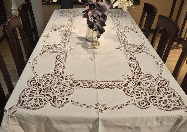 """Extra Long Old Fashion(72x108"""")  Battenburg Lace  Embroidery Cotton  Table cloths.NO.419"""