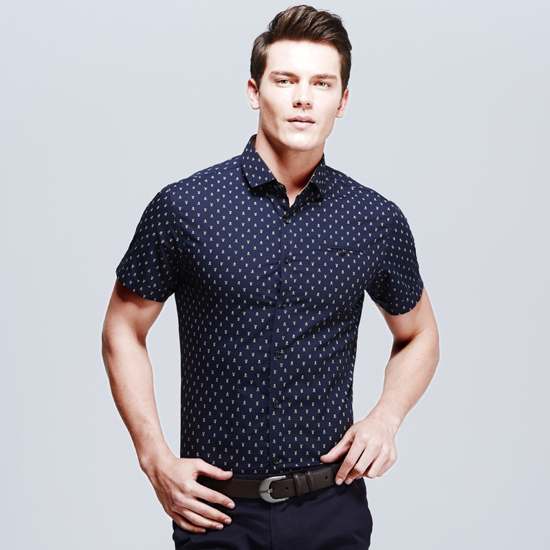 Summer Style Shirt Men 2015 Cotton Printed Skulls Men: shirts for thin guys