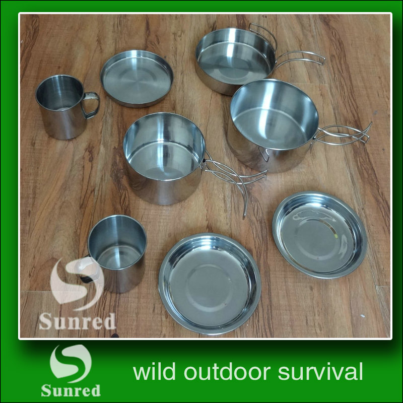 Free Shipping 8pcs Stainless steel portable camping cookware set(China (Mainland))