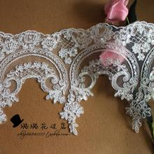 2015 new sequins applique Ivory white long nylon lace accessories for wedding dress width 24cm(China (Mainland))